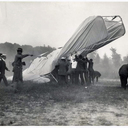 When Orville Wright came to Fort Myer to demonstrate the Wright Flyer for Squier (white hat walking to the crash site) and the US Army Signal Corps division, Lt. Thomas Selfridge arranged to be a passenger while Orville piloted the craft. On September 17, 1908, the Wright Flyer circled Fort Myer 4½ times at 150 feet. Halfway through the fifth circuit, at 5:14 in the afternoon, the right propeller broke, losing thrust. Orville shut off the engine and managed to glide to about 75 feet, but the Flyer hit the ground nose first killing Selfridge and seriously injuring Orville.